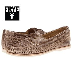 Frye Quincy Bronze Woven Boat Shoes. Size 6M